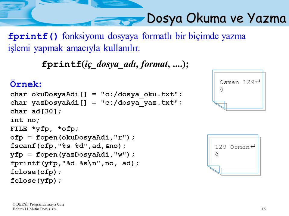 Dosya Okuma ve Yazma fprintf() fonksiyonu dosyaya formatlı bir biçimde yazma işlemi yapmak amacıyla kullanılır.