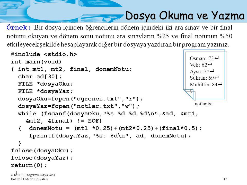 Dosya Okuma ve Yazma