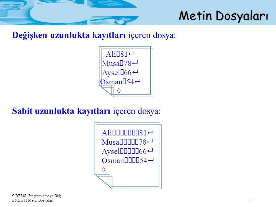 Metin Dosyaları Değişken uzunlukta kayıtları içeren dosya: