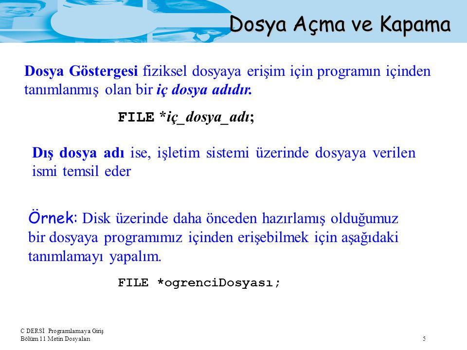 Dosya Açma ve Kapama Dosya Göstergesi fiziksel dosyaya erişim için programın içinden tanımlanmış olan bir iç dosya adıdır.