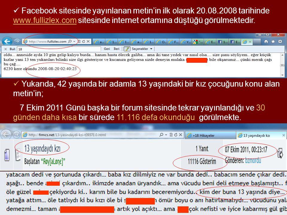 Facebook sitesinde yayınlanan metin'in ilk olarak 20. 08