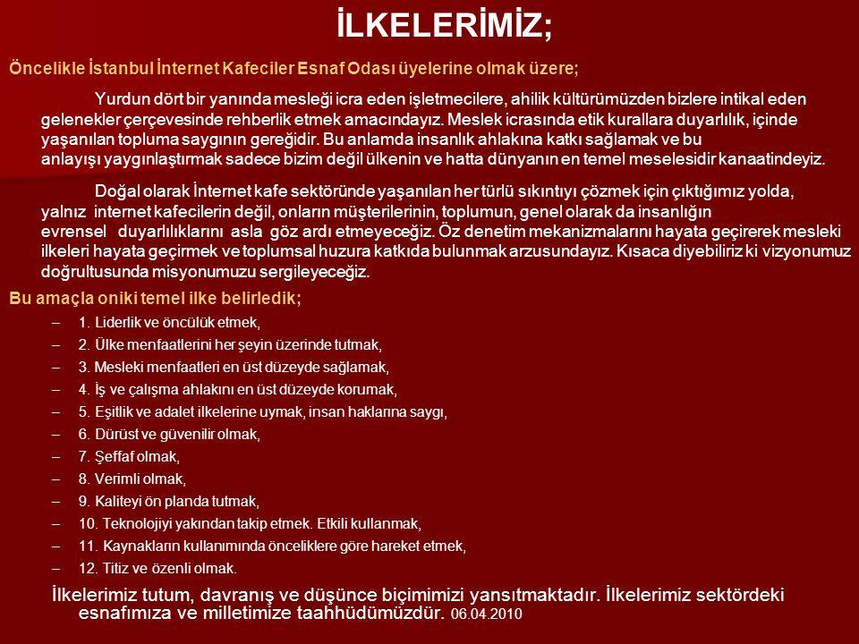 İLKELERİMİZ; Öncelikle İstanbul İnternet Kafeciler Esnaf Odası üyelerine olmak üzere;