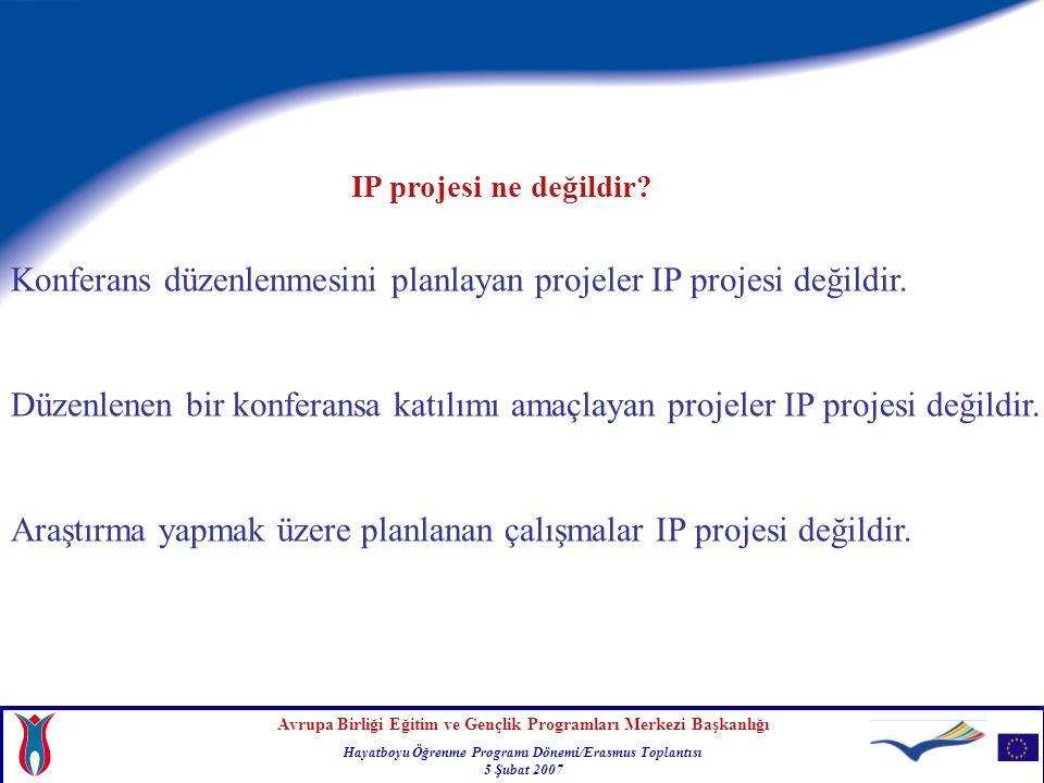 Konferans düzenlenmesini planlayan projeler IP projesi değildir.