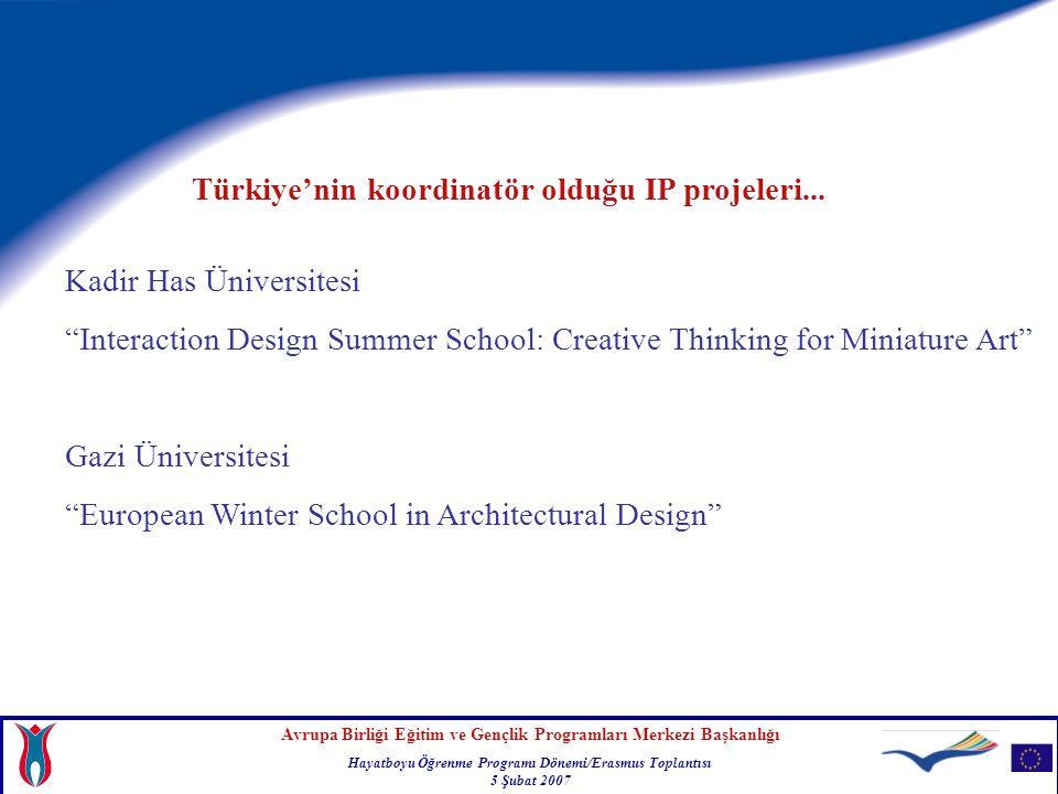 Türkiye'nin koordinatör olduğu IP projeleri...