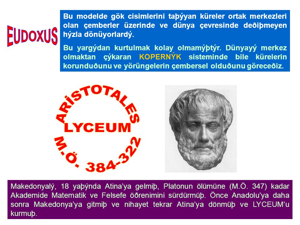 EUDOXUS ARİSTOTALES LYCEUM M.Ö. 384-322