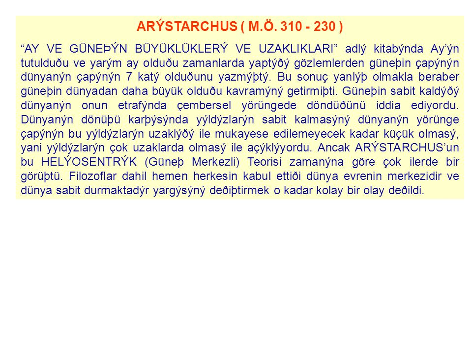 ARÝSTARCHUS ( M.Ö. 310 - 230 )
