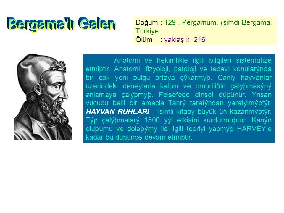 Bergama lı Galen Doğum : 129 , Pergamum, (şimdi Bergama, Türkiye.