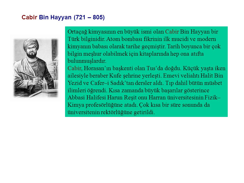 Cabir Bin Hayyan (721 – 805)