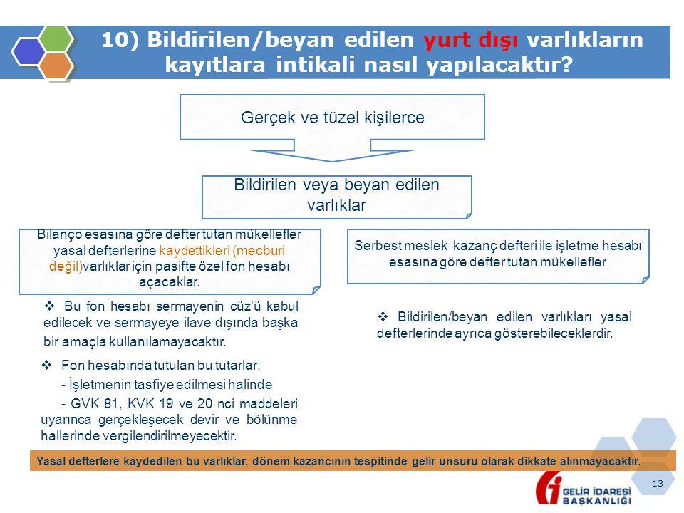 10) Bildirilen/beyan edilen yurt dışı varlıkların kayıtlara intikali nasıl yapılacaktır