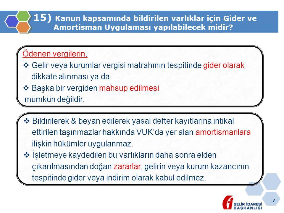 15) Kanun kapsamında bildirilen varlıklar için Gider ve Amortisman Uygulaması yapılabilecek midir