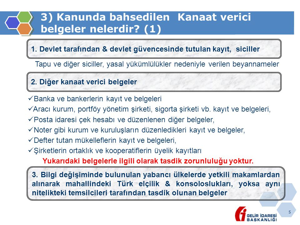 3) Kanunda bahsedilen Kanaat verici belgeler nelerdir (1)