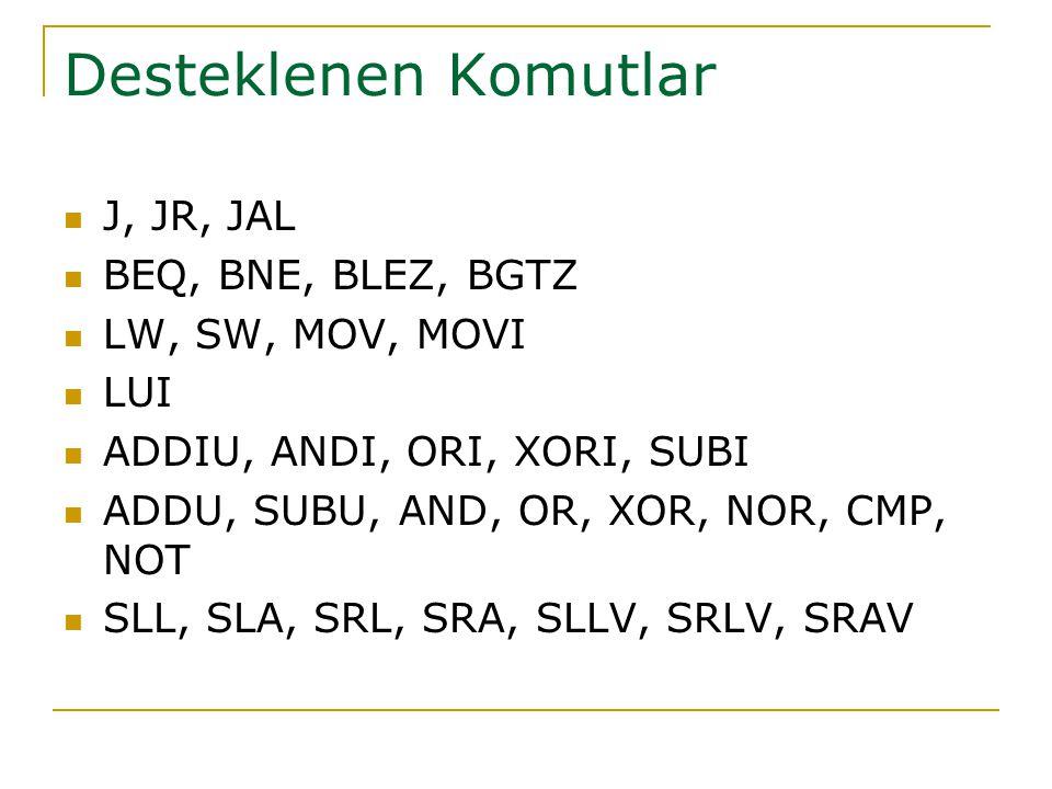 Desteklenen Komutlar J, JR, JAL BEQ, BNE, BLEZ, BGTZ LW, SW, MOV, MOVI