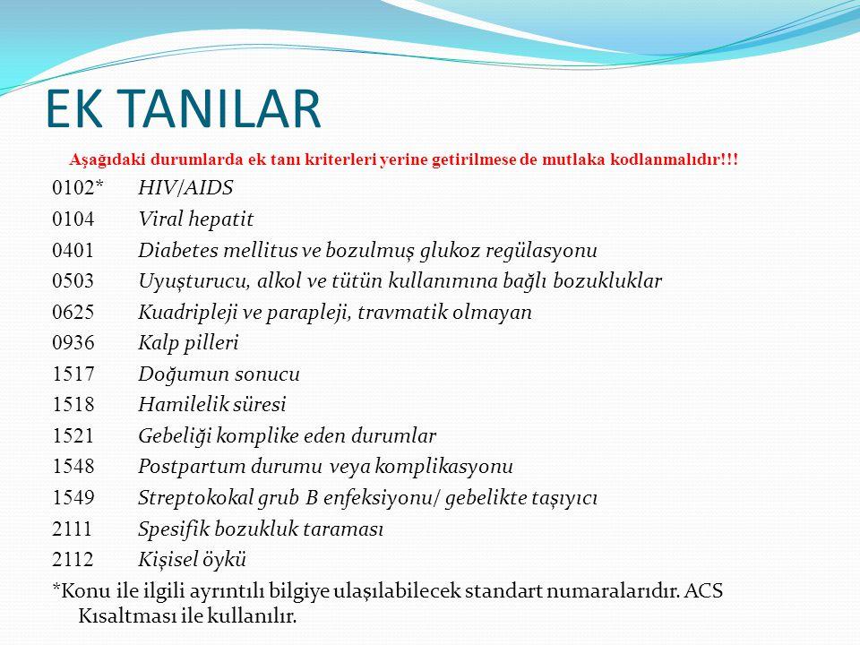EK TANILAR 0102* HIV/AIDS 0104 Viral hepatit