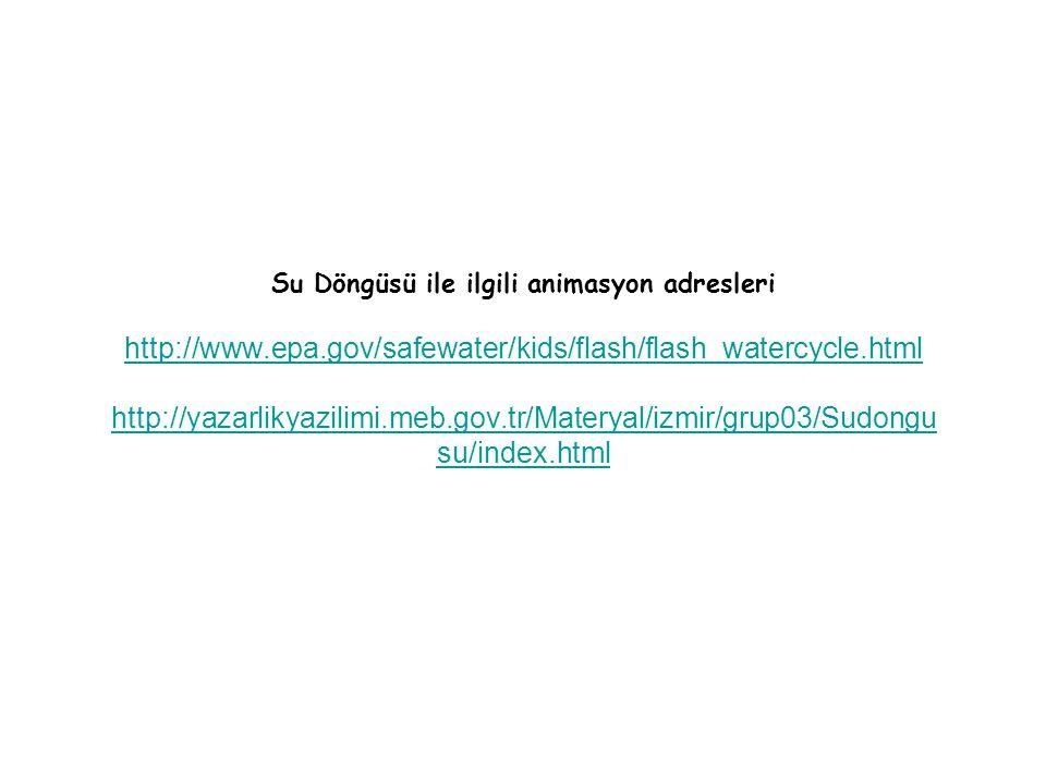 Su Döngüsü ile ilgili animasyon adresleri http://www. epa