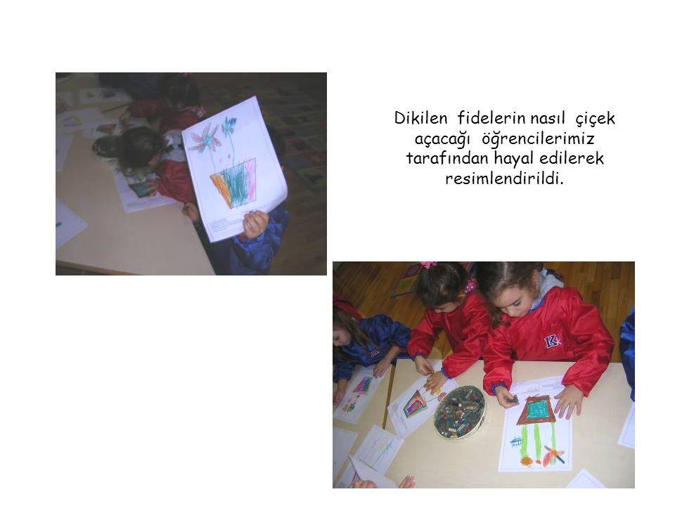 Dikilen fidelerin nasıl çiçek açacağı öğrencilerimiz tarafından hayal edilerek resimlendirildi.
