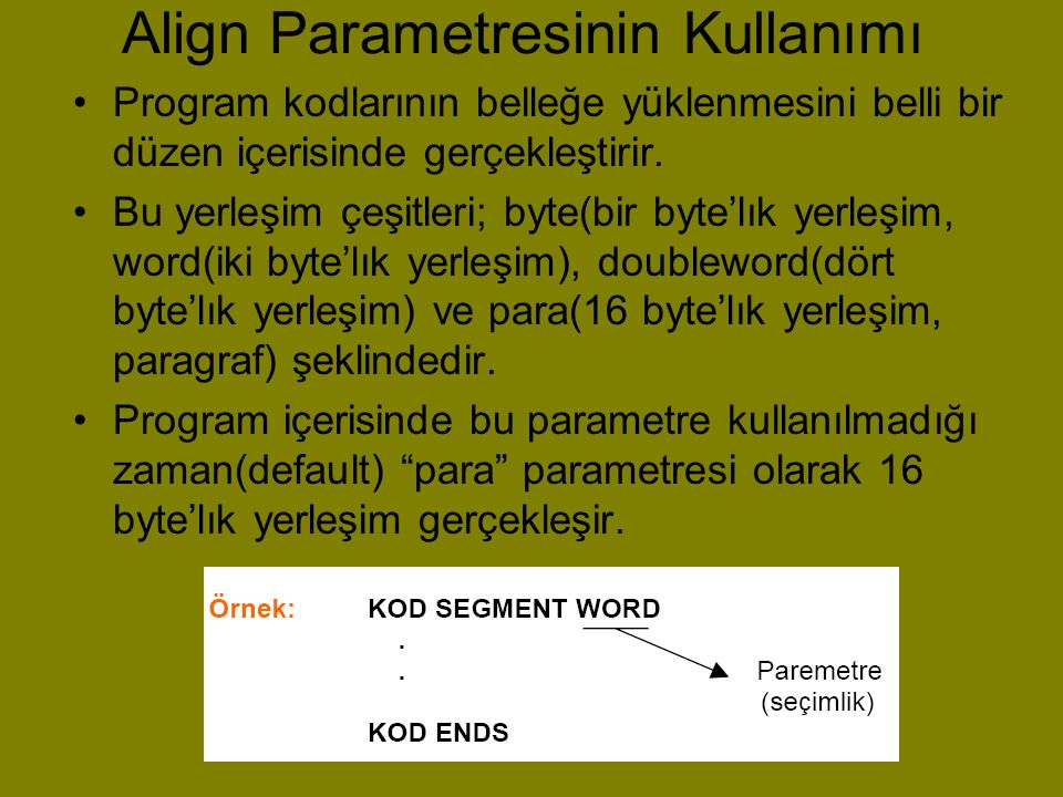 Align Parametresinin Kullanımı