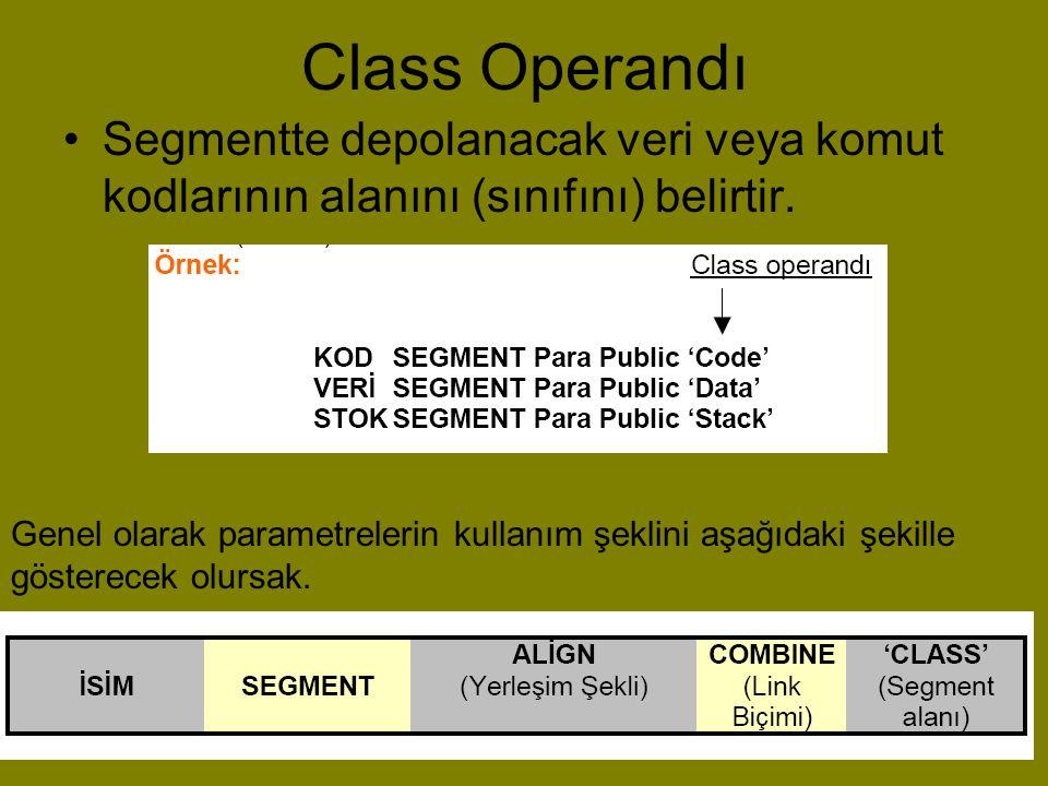 Class Operandı Segmentte depolanacak veri veya komut kodlarının alanını (sınıfını) belirtir.