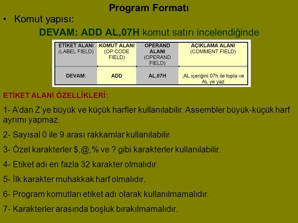 DEVAM: ADD AL,07H komut satırı incelendiğinde
