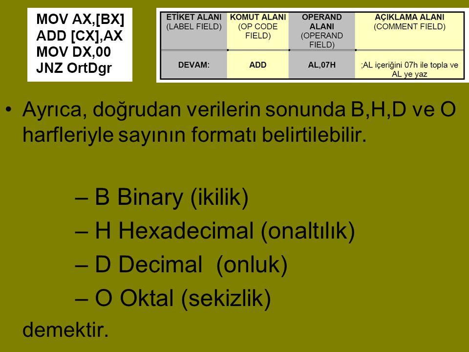 H Hexadecimal (onaltılık) D Decimal (onluk) O Oktal (sekizlik)
