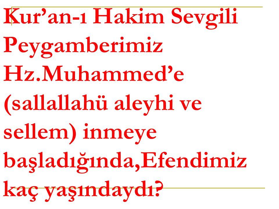 Kur'an-ı Hakim Sevgili Peygamberimiz Hz