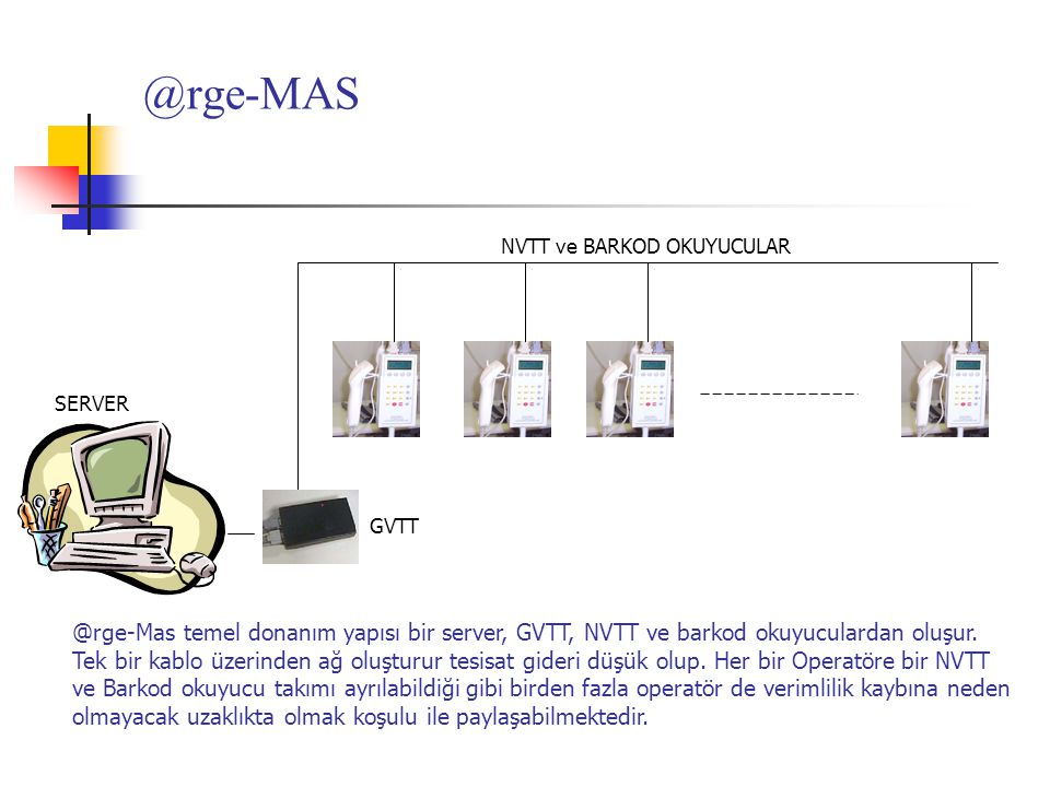 @rge-MAS NVTT ve BARKOD OKUYUCULAR. SERVER. GVTT. @rge-Mas temel donanım yapısı bir server, GVTT, NVTT ve barkod okuyuculardan oluşur.