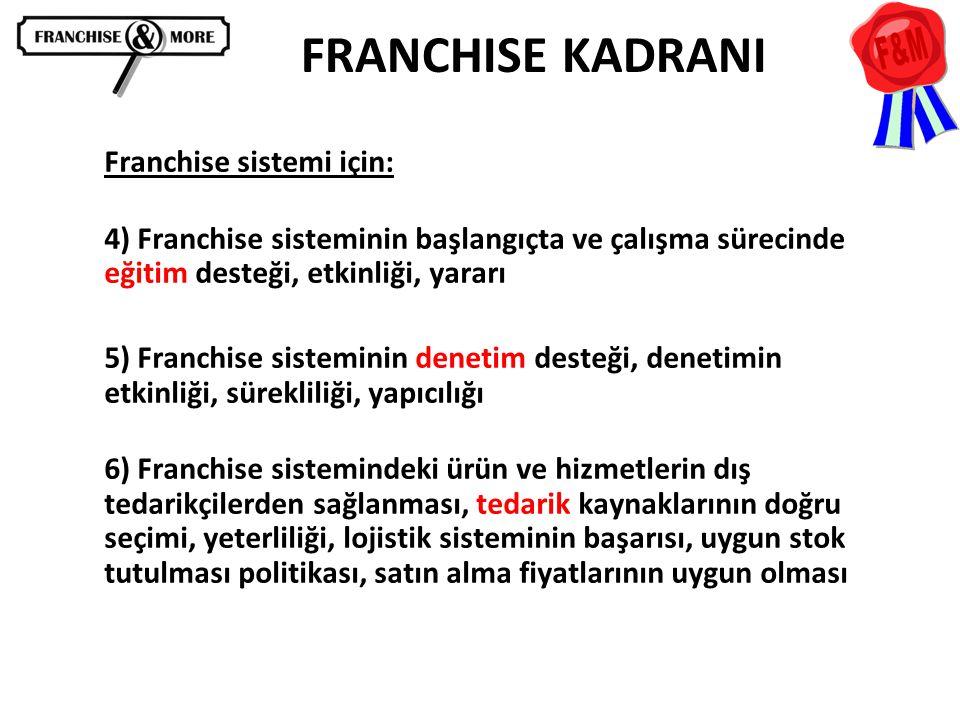 FRANCHISE KADRANI Franchise sistemi için: