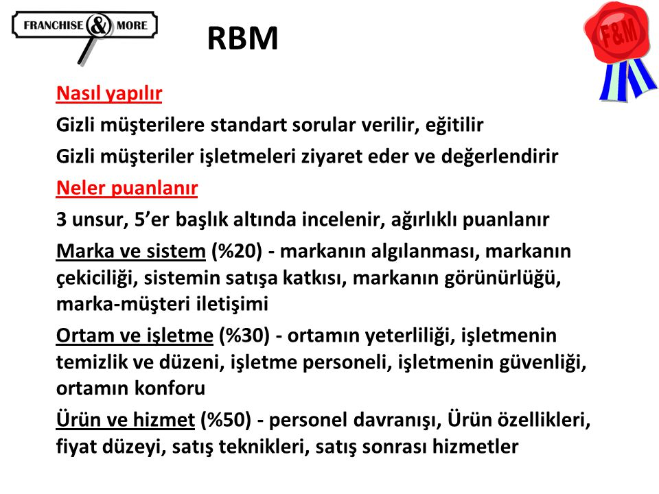 RBM Nasıl yapılır Gizli müşterilere standart sorular verilir, eğitilir