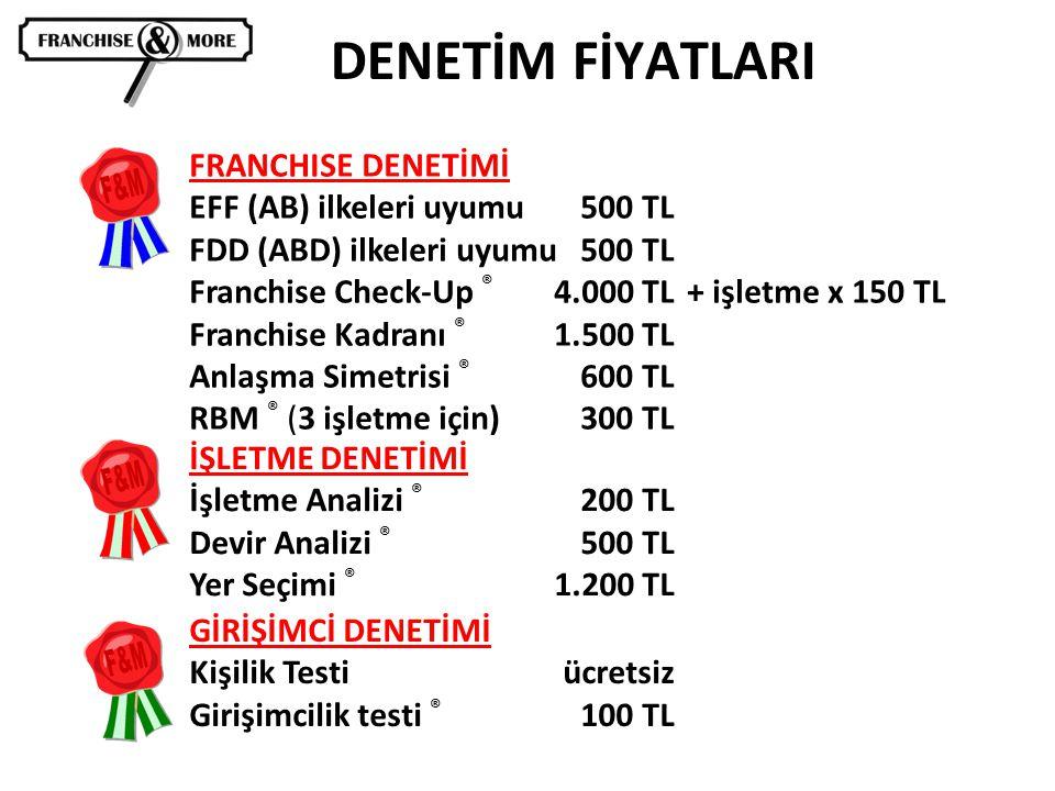 DENETİM FİYATLARI FRANCHISE DENETİMİ EFF (AB) ilkeleri uyumu 500 TL