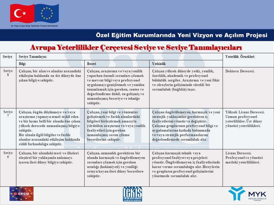 Avrupa Yeterlilikler Çerçevesi Seviye ve Seviye Tanımlayıcıları