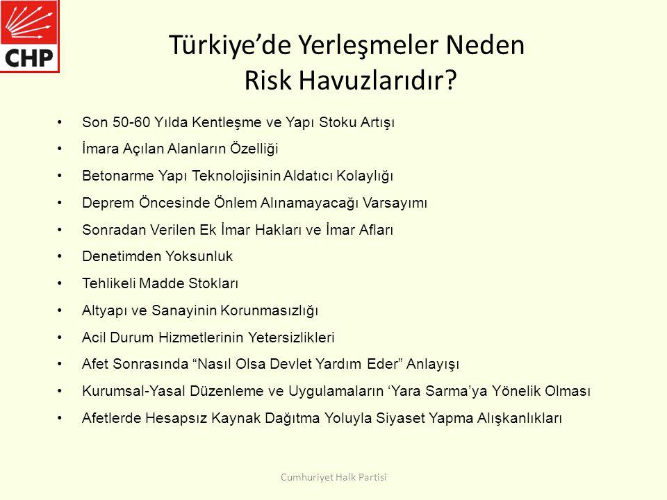 Türkiye'de Yerleşmeler Neden Risk Havuzlarıdır
