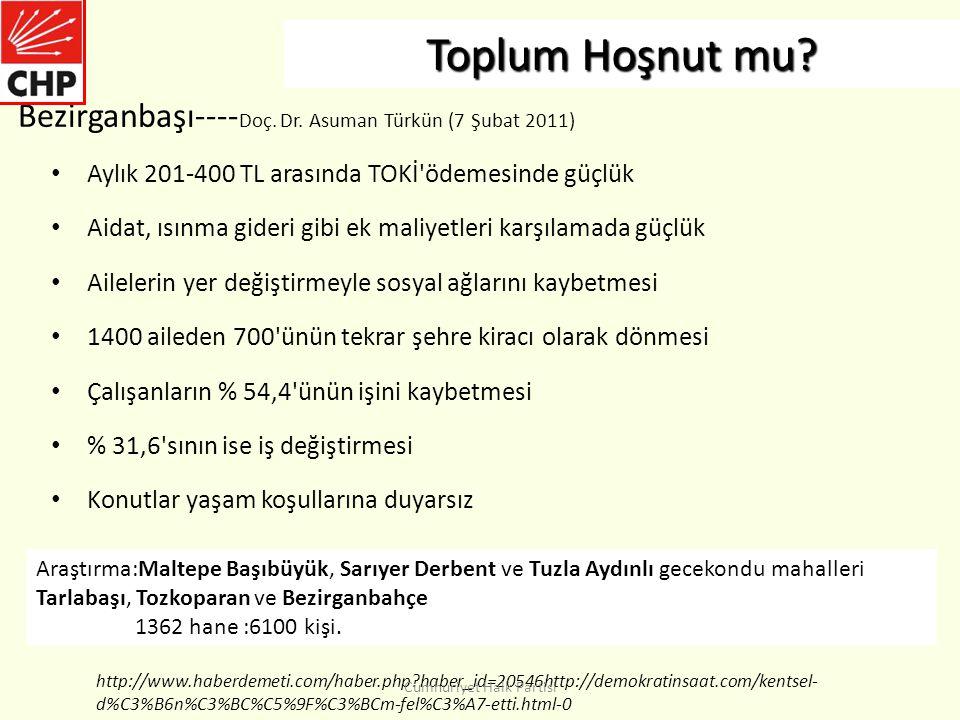 Toplum Hoşnut mu Bezirganbaşı----Doç. Dr. Asuman Türkün (7 Şubat 2011) Aylık 201-400 TL arasında TOKİ ödemesinde güçlük.