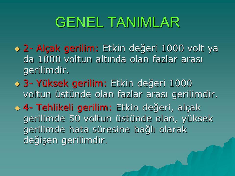 GENEL TANIMLAR 2- Alçak gerilim: Etkin değeri 1000 volt ya da 1000 voltun altında olan fazlar arası gerilimdir.