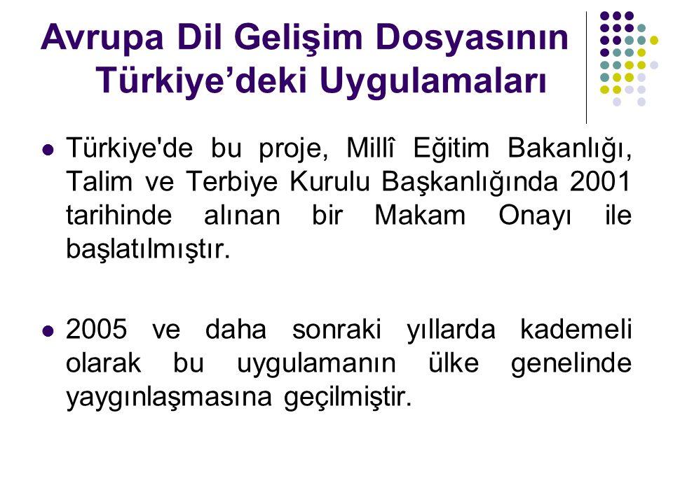 Avrupa Dil Gelişim Dosyasının Türkiye'deki Uygulamaları