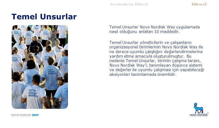 Temel Unsurlar Temel Unsurlar Novo Nordisk Way uygulamada nasıl olduğunu anlatan 10 maddedir.