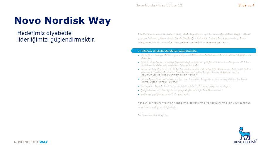 Novo Nordisk Way Hedefimiz diyabetle liderliğimizi güçlendirmektir.