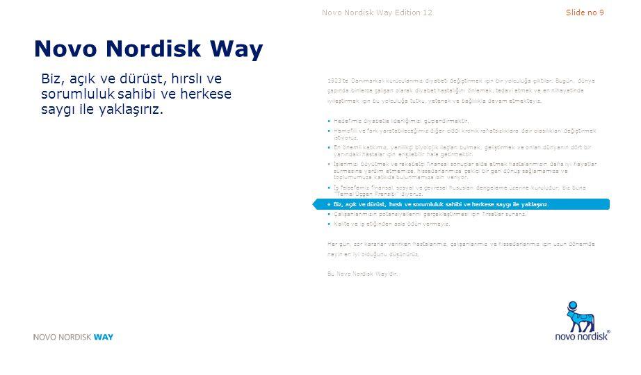 Novo Nordisk Way Biz, açık ve dürüst, hırslı ve sorumluluk sahibi ve herkese saygı ile yaklaşırız.