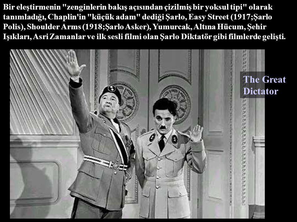 Bir eleştirmenin zenginlerin bakış açısından çizilmiş bir yoksul tipi olarak tanımladığı, Chaplin in küçük adam dediği Şarlo, Easy Street (1917;Şarlo Polis), Shoulder Arms (1918;Şarlo Asker), Yumurcak, Altına Hücum, Şehir Işıkları, Asri Zamanlar ve ilk sesli filmi olan Şarlo Diktatör gibi filmlerde gelişti.