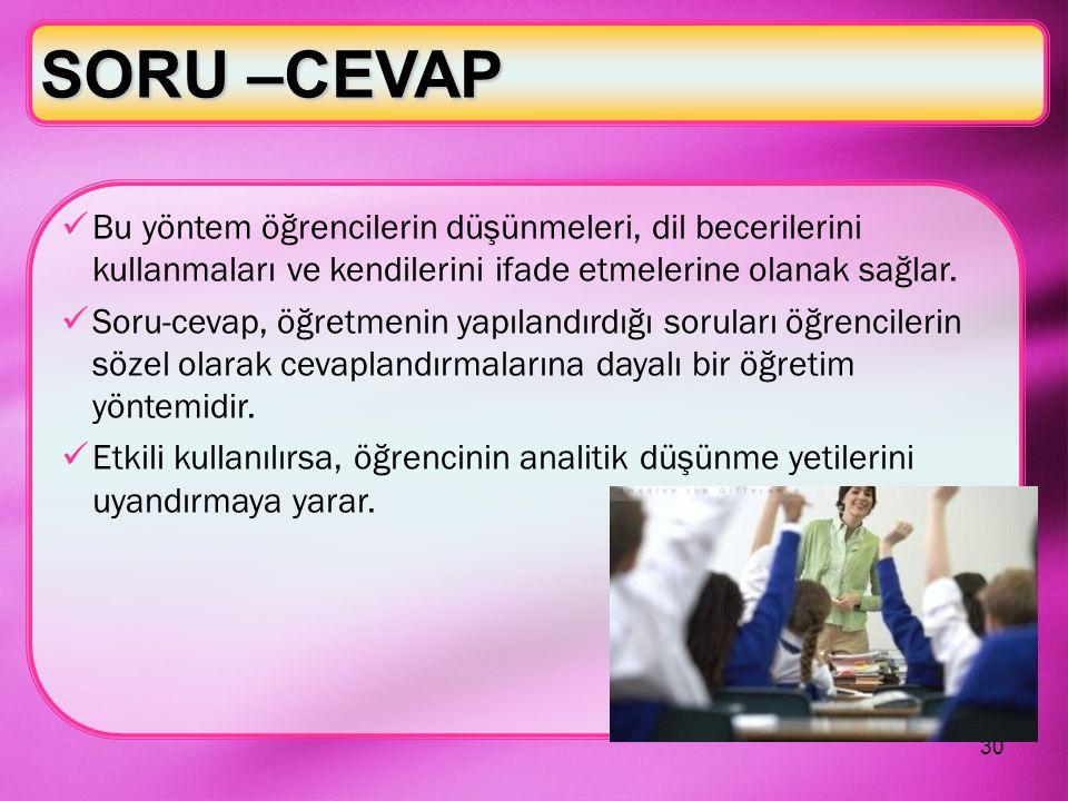 SORU –CEVAP Bu yöntem öğrencilerin düşünmeleri, dil becerilerini kullanmaları ve kendilerini ifade etmelerine olanak sağlar.
