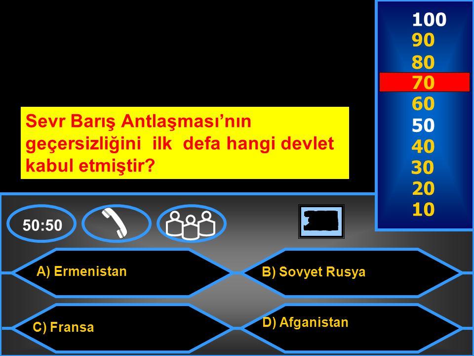 100 90. 80. 70. 60. Sevr Barış Antlaşması'nın geçersizliğini ilk defa hangi devlet kabul etmiştir