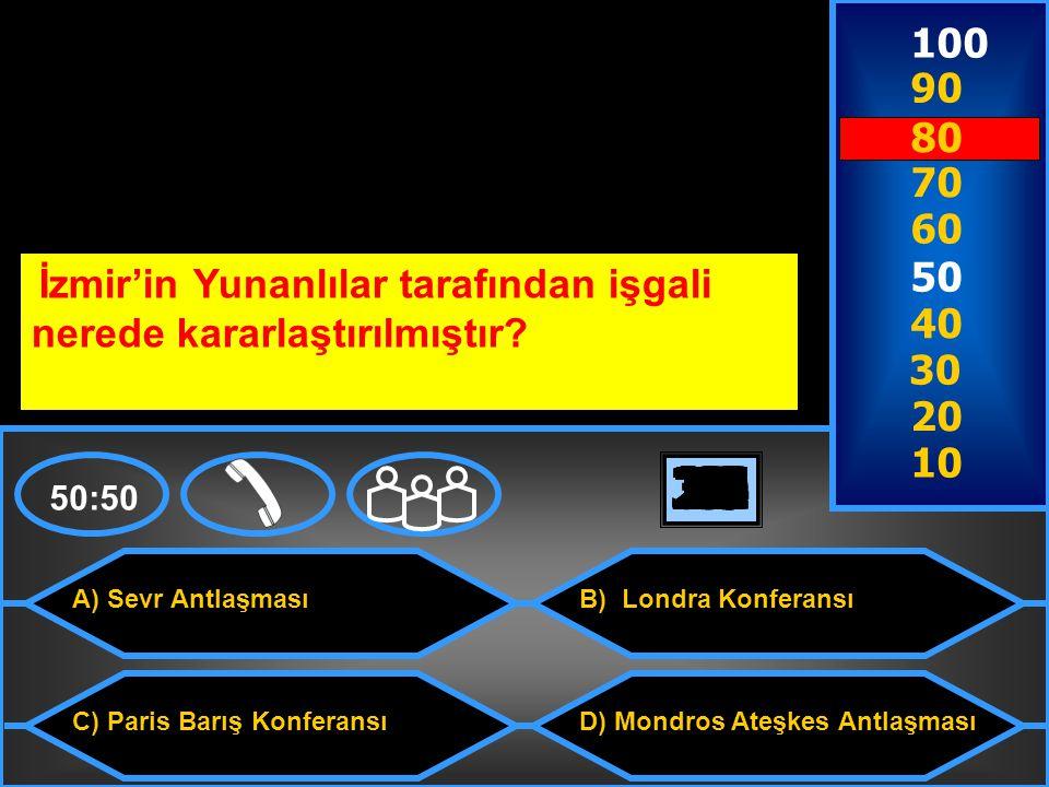 100 90. 80. 70. 60. 50. İzmir'in Yunanlılar tarafından işgali nerede kararlaştırılmıştır 40.