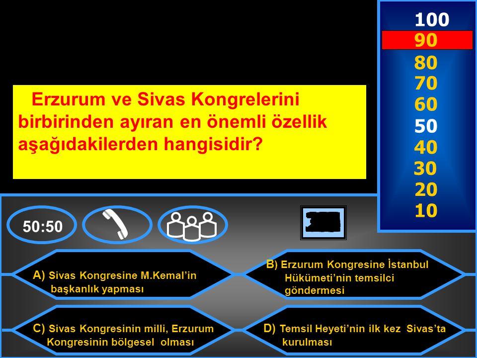 100 90. 80. 70. Erzurum ve Sivas Kongrelerini birbirinden ayıran en önemli özellik aşağıdakilerden hangisidir