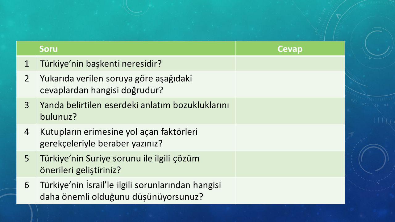Soru Cevap. 1. Türkiye'nin başkenti neresidir 2. Yukarıda verilen soruya göre aşağıdaki cevaplardan hangisi doğrudur
