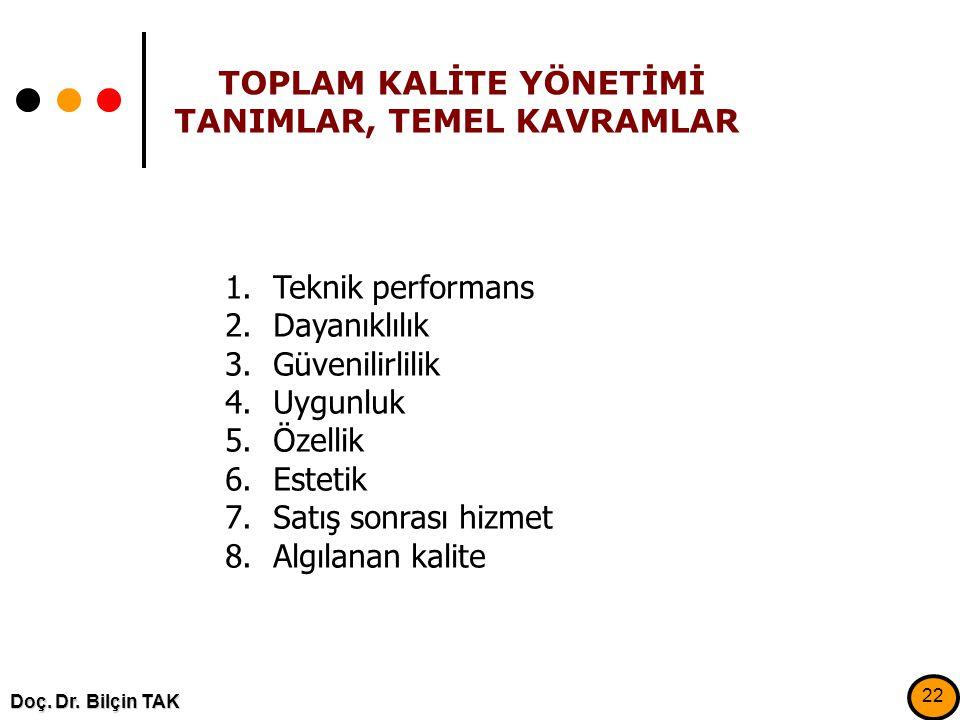 TOPLAM KALİTE YÖNETİMİ TANIMLAR, TEMEL KAVRAMLAR