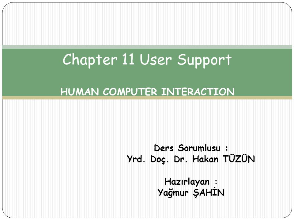 Chapter 11 User Support HUMAN COMPUTER INTERACTION