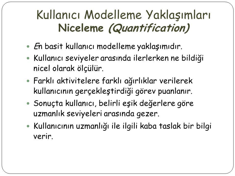 Kullanıcı Modelleme Yaklaşımları Niceleme (Quantification)