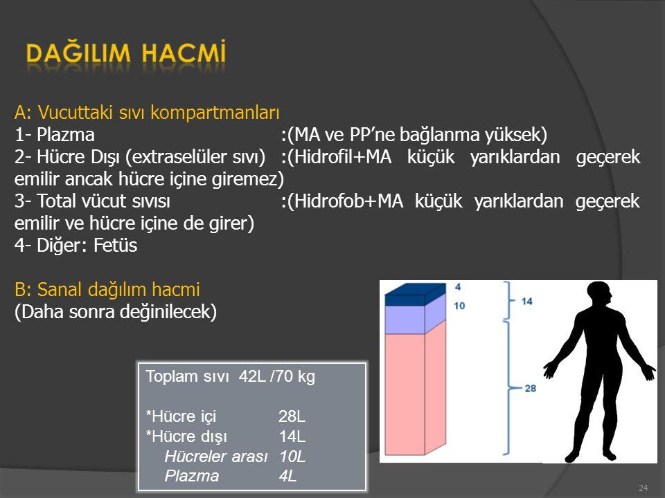 DAĞILIM HACMİ A: Vucuttaki sıvı kompartmanları