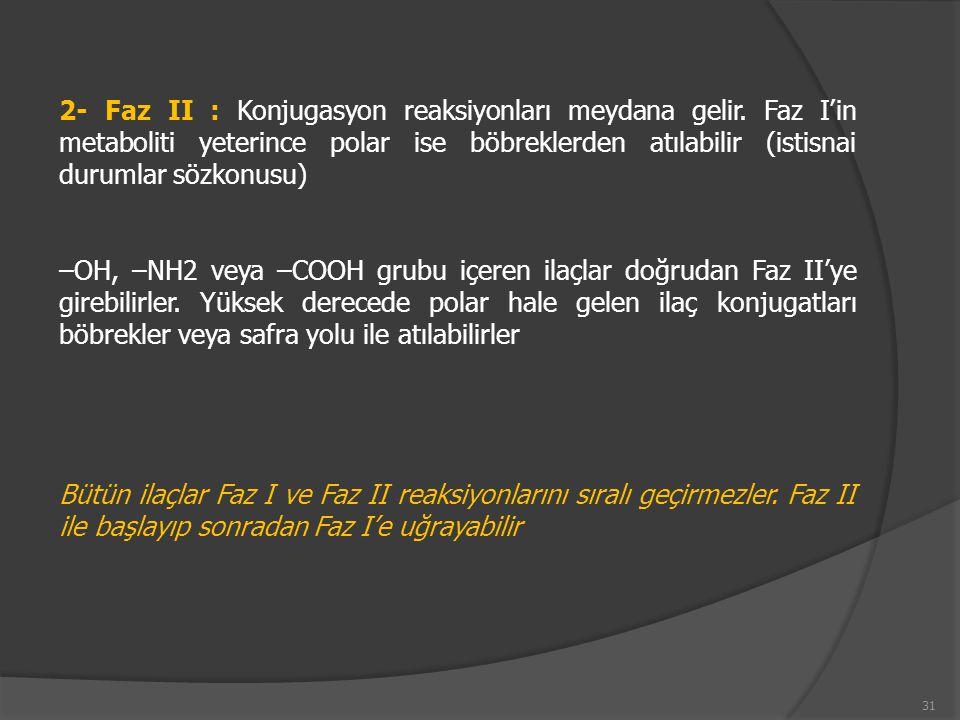 2- Faz II : Konjugasyon reaksiyonları meydana gelir