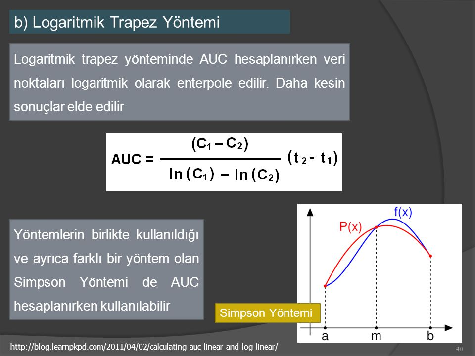 b) Logaritmik Trapez Yöntemi