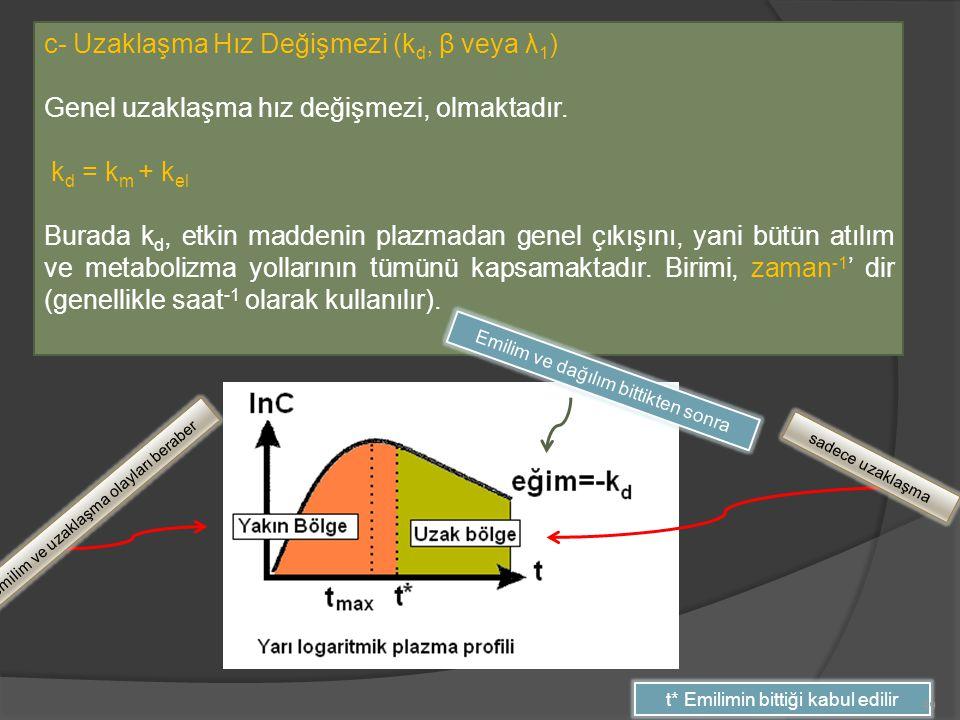 c- Uzaklaşma Hız Değişmezi (kd, β veya λ1)