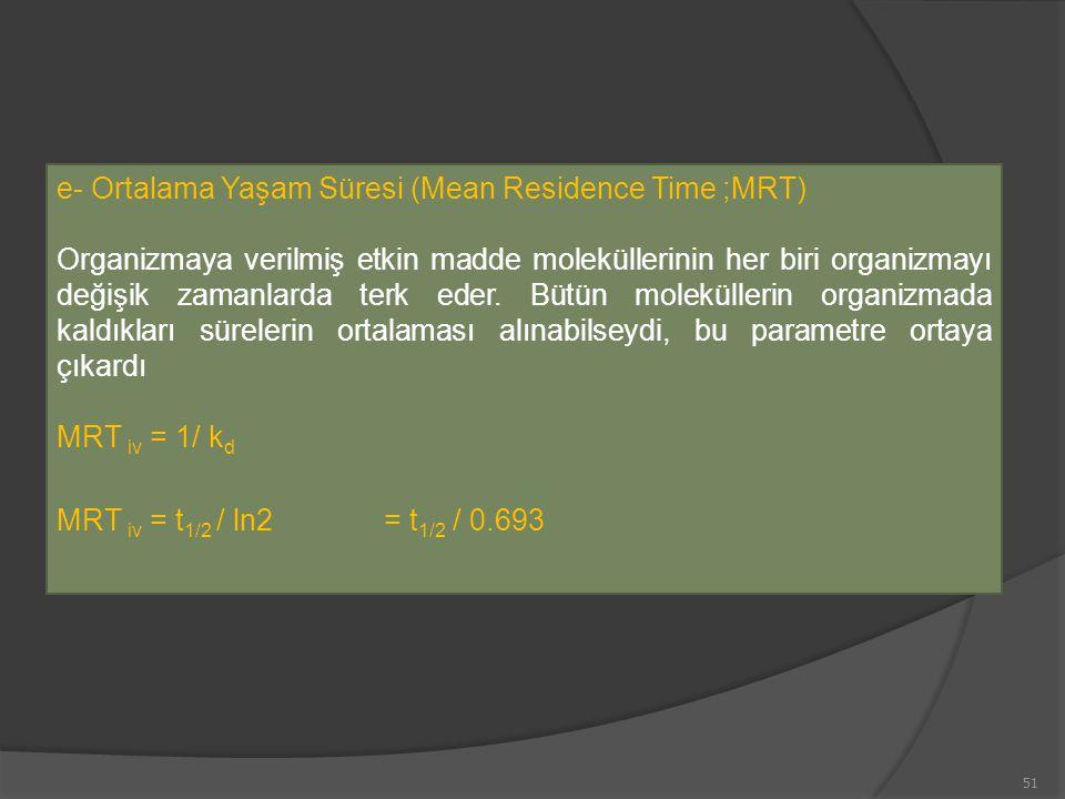 e- Ortalama Yaşam Süresi (Mean Residence Time ;MRT)